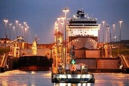 PANAMA CANAL, Panama -- A ship goes through the Panama Canal at night.