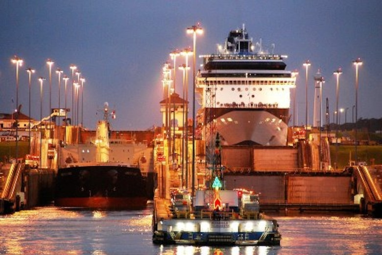 PANAMA CANAL, Panama -- A ship goes through the Panama Canal at night.