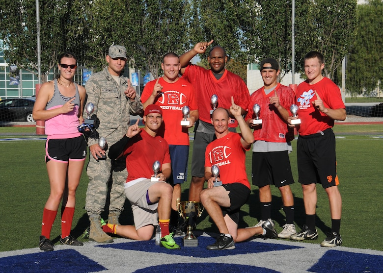 The Space and Missile Systems Center's Remote Sensing Systems directorate's team trounced Aerospace, 41-19, in the Los Angeles Air Force Base, Calif., flag football playoffs for the championship title Aug 14, 2014. (Photos by Joe Juarez)