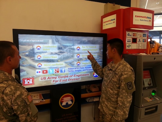 Patrons of the food court on U.S Army Garrison Humphreys will be greeted by a new visitor when they walk through the entryway of the facility. A 55 inch touch-screen television monitor is now on display with the latest information on construction progress at Humphreys.