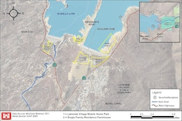An August 2014 map shows the location of real estate properties that will be impacted by construction of the U.S. Army Corps of Engineers Sacramento District Isabella Lake Dam Safety Modification Project. The Corps is acquiring land and relocating residents at the Lakeside Village mobile home park (1) and a farmhouse (2) after the Corps' environmental analysis showed that residents could potentially be exposed to significant levels of construction noise, dust and diesel exhaust that exceed health standards from nearby staging areas (shown in yellow).