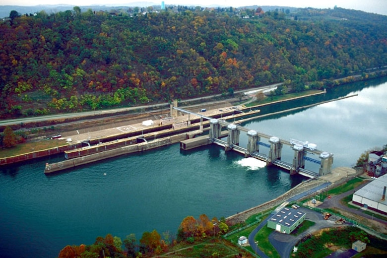 Aerial photo of Locks and Dam 4 on the Monongahela River