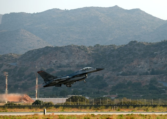 A U.S. Air Force F-16 Fighting Falcon fighter aircraft pilot launches his jet Aug. 18, 2014, at Souda Bay, Greece, during a training event between Greece and the U.S. The training included 22 aircraft launches a day. (U.S. Air Force photo by Staff Sgt. Daryl Knee/Released)