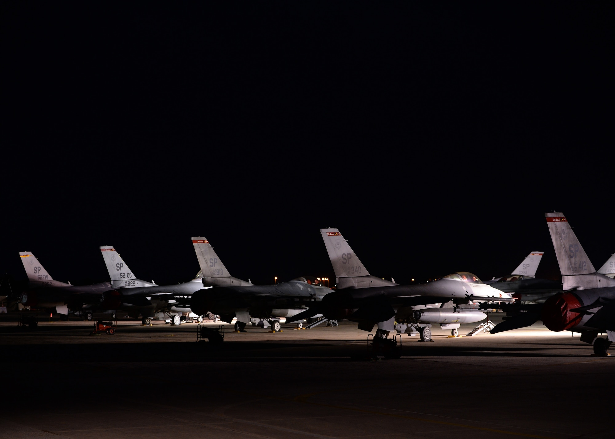 A  F-16 Fighting Falcon aircraft taxis to the flightline during a two-week training event between Greece and the U.S. Aug. 18, 2014, at Souda Bay, Greece. The training allows the NATO partners to fly together during peacetime to strengthen their joint military capability. The F-16 is from the 480th Fighter Squadron. (U.S. Air Force photo/Staff Sgt. Daryl Knee)