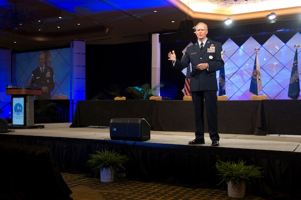 Chief Master Sgt. of the Air Force James A. Cody speaks to an audience of current, former and retired Airmen at the Air Force Sergeants Association Professional Airmen's Conference in Jacksonville, Fla. (U.S. Air Force photo/Senior Master Sgt. Lee Hoover)