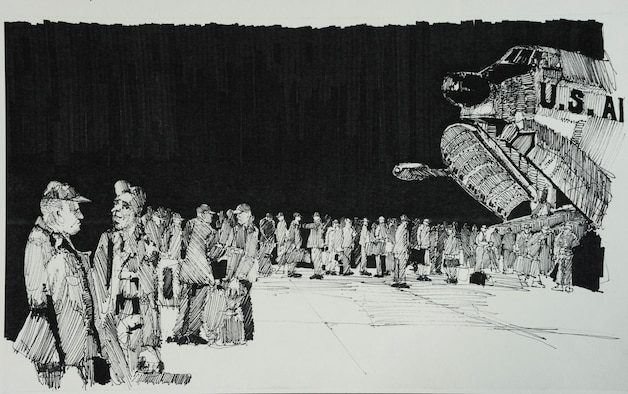 """Preparing to Board.""  This black and white drawing depicts a detail of the August 1969 OreANG deployment to Alaska.  It shows a portion of the 900 members of the 142nd Fighter Group preparing to board one of 10 Oklahoma ANG C-124 transports for a 1,200 air mile, non-stop deployment to Anchorage, Alaska, for 15 days of annual field training. (Drawing by Airman Robert Thomas, 142nd CAM Sq.)"