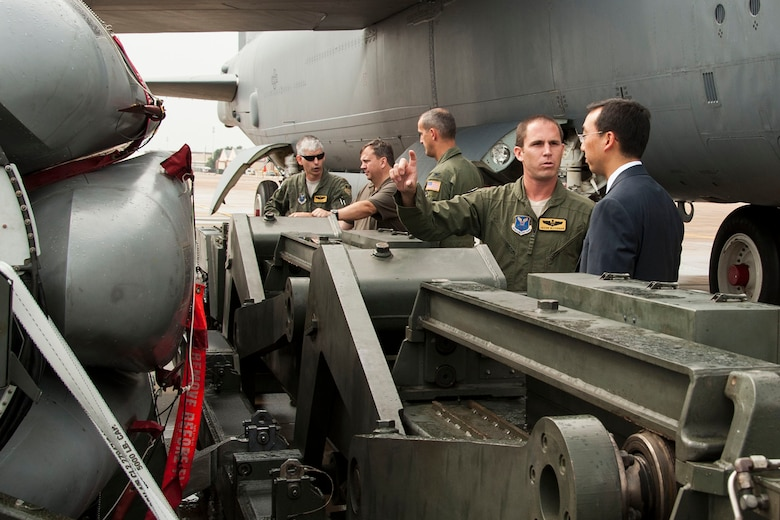 Members of the Nuclear Command and Control Support Staff are briefed on the capabilities of the B-52 Stratofortress during a visit to Barksdale Air Force Base, La., Aug. 18, 2014. (U.S. Air Force photo by Master Sgt. Jeff Walston/Released)