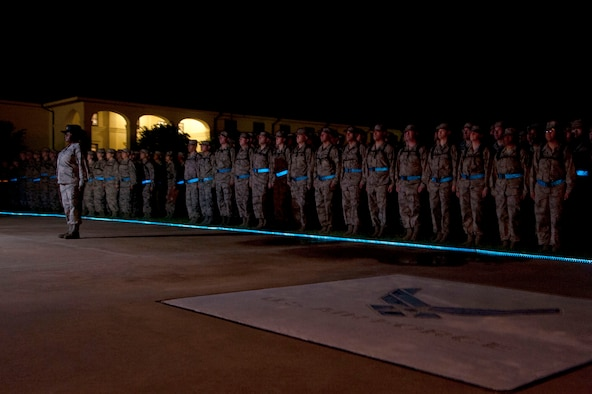 As the U.S. Air Force nears its 67th birthday, the first class of Active, Guard and Reserve Officer Training School cadets cross the blue line into the Air Force July 19, 2014, at Maxwell Air Force Base. This is the first time that all three service components have crossed the blue line together.The blue line is a ceremony held for every class to affirm their commitment to the U.S. Air Force and its core values. (U.S. Air Force photo by Staff Sgt. Natasha Stannard)