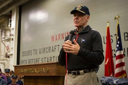 """Secretary of the Navy Ray Mabus addresses the Marines and Sailors of Special Purpose Marine Air Ground Task Force South and the future amphibious assault ship USS America (LHA 6) during an all hands call held aboard the ship, Aug. 19, 2014. During the meeting, Mabus addressed the Marines and Sailors of America and Special Purpose Marine Air Ground Task Force South. Visits like this remind the Marines and Sailors with America and the SPMAGTF of the significance of the work they are doing. SPMAGTF-South is embarked aboard America in support of her maiden transit, """"America Visits the Americas."""" Through partner-nation activities, theater security events and key leader engagements, the transit aims to demonstrate the flexibility, utility and unparalleled expeditionary capability the Navy-Marine Corps team provides our nation and partners. (U.S. Marine Corps Photo by Cpl. Donald Holbert/ Released)"""