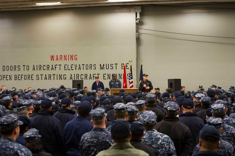 "Secretary of the Navy Ray Mabus addresses the Marines and Sailors of Special Purpose Marine Air Ground Task Force South and the future amphibious assault ship USS America (LHA 6) during an all hands meeting held in the hangar bay, Aug. 19, 2014. During his visit, Mabus also toured the ship, had dinner with the Marines and Sailors on the mess deck and attended an ice cream social. Visits like this remind the Marines and Sailors with America and the SPMAGTF of the significance of the work they are doing. SPMAGTF-South is embarked aboard America in support of her maiden transit, ""America Visits the Americas."" Through partner-nation activities, theater security events and key leader engagements, the transit aims to demonstrate the flexibility, utility and unparalleled expeditionary capability the Navy-Marine Corps team provides our nation and partners. (U.S. Marine Corps Photo by Cpl. Donald Holbert/ Released)"