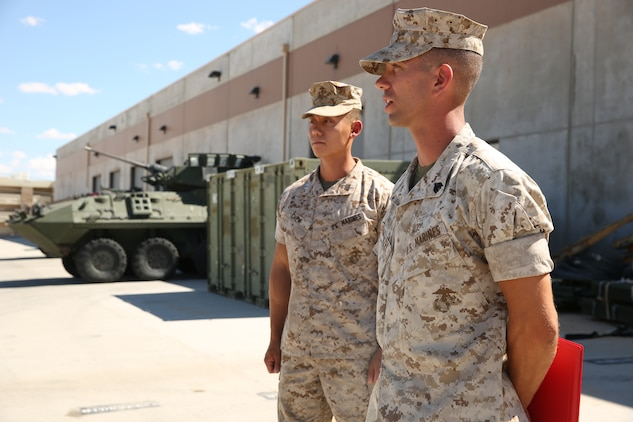 Sgt. Arthur E. Krenzel III, field radio operator, 3rd Light Armored Reconnaissance Battalion, expresses his gratitude to his shop and his eagerness to contribute to the section as a sergeant of Marines during his meritorious promotion ceremony at the Communications Building of 3rd LAR, Aug. 15, 2014.