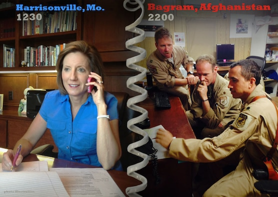 Deployed 442d Fighter Wing reservists received a phone call from Missouri Congresswoman Vicky Hartzler on Monday. Hartzler phoned the deployed citizen airmen from her home office outside Harrisonville, Mo. (U.S. Air Force photo illustration by Technical Sgt. Emilly Alley)