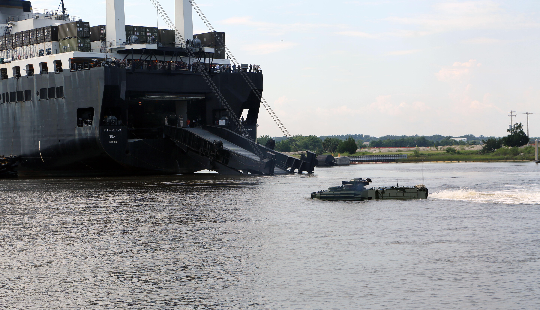 reserve marines conduct th amphibious assault vehicle launch hi res photo