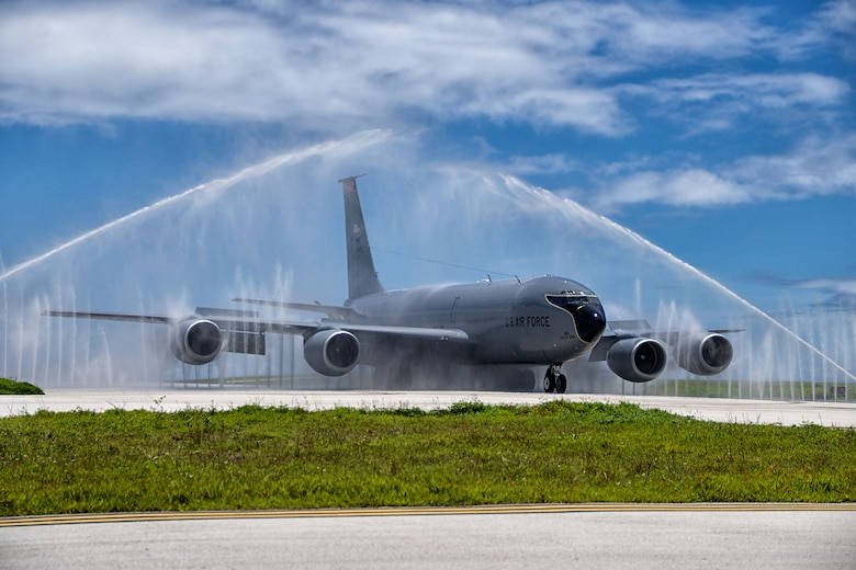 A KC-135 Stratotanker taxis through the wash rack, also known as a bird bath, after a mission Aug. 18, 2014. The KC-135 is assigned to the Air National Guard's 134th Air Refueling Wing. (U.S. Air National Guard photo/Tech. Sgt. Jonathan Young)