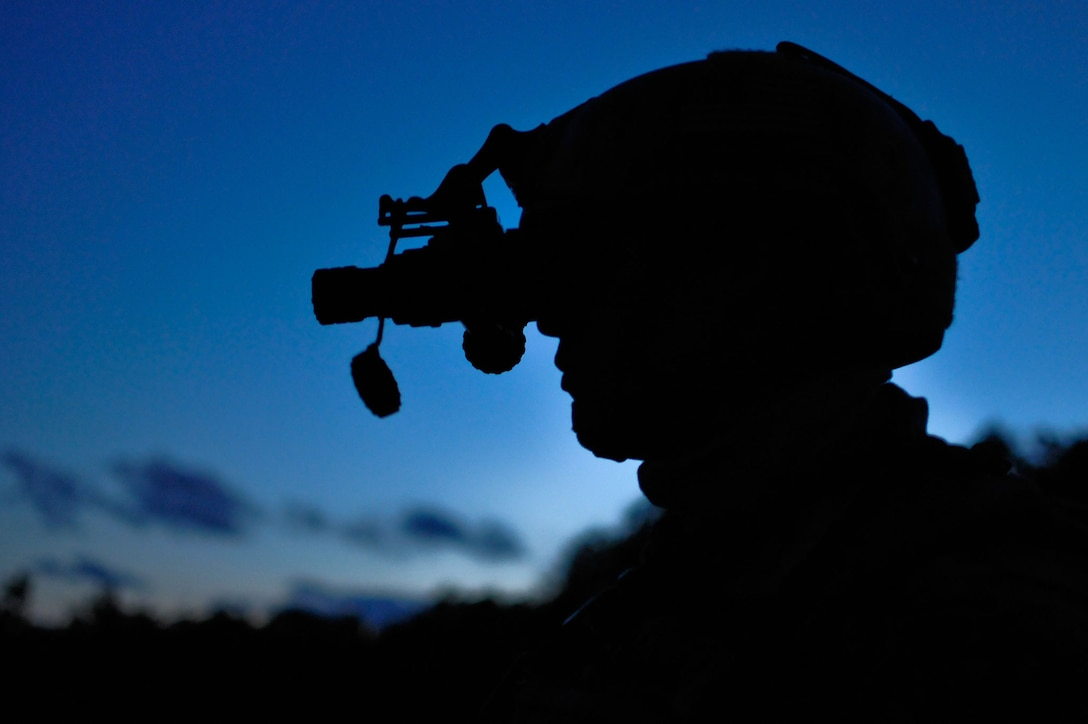 Senior Airman Brandon W. Motley watches for air support with night vision during evening operations Aug. 13, 2014, on the Grayling Air Gunnery Range during Operation Northern Strike in Grayling, Mich. Northern Strike was a three-week exercise led by the National Guard that demonstrated the combined power of joint and multinational air and ground forces. Motley is a tactical air control party specialist with the 169th Air Support Operations Squadron. TACPs were with the Air National Guard's 169th ASOS from Peoria, Ill., and more than 5,000 other armed forces members from 12 states and two coalition nations participated in the combat training. (U.S. Air National Guard photo/Staff Sgt. Lealan Buehrer)