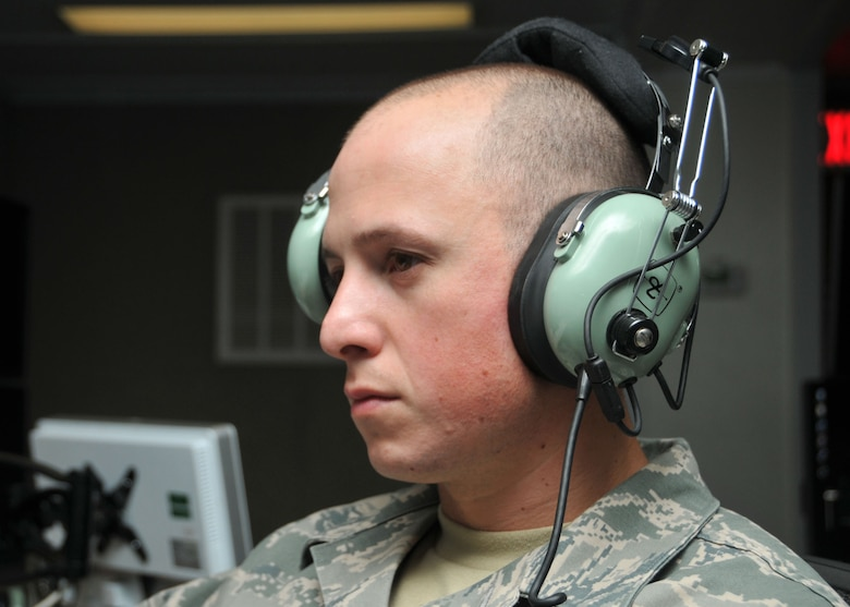 Air National Guard Staff Sgt. Jordan Pappas monitors air traffic on a radar screen for the 727th Expeditionary Air Control Squadron. The squadron recently upgraded its equipment from the BC3-E system (Battlespace Command and Control Center-Expeditionary) to the BC3-T (Battlespace Command and Control Center-Theater) system at the 380th Air Expeditionary Wing at an undisclosed location in Southwest Asia. (U.S. Air National Guard photo by Senior Master Sgt. Eric Peterson/Released)