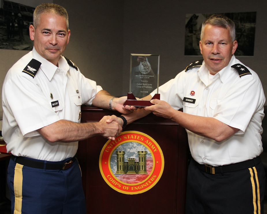 The U.S. Army Provost Marshal General recognized USACE as having the Best Antiterrorism Program (Army Major Subordinate Command) (FY13).  COL  Dan McElroy (Deputy Provost Marshal General)presents MG Todd Semonite with USACE's award.