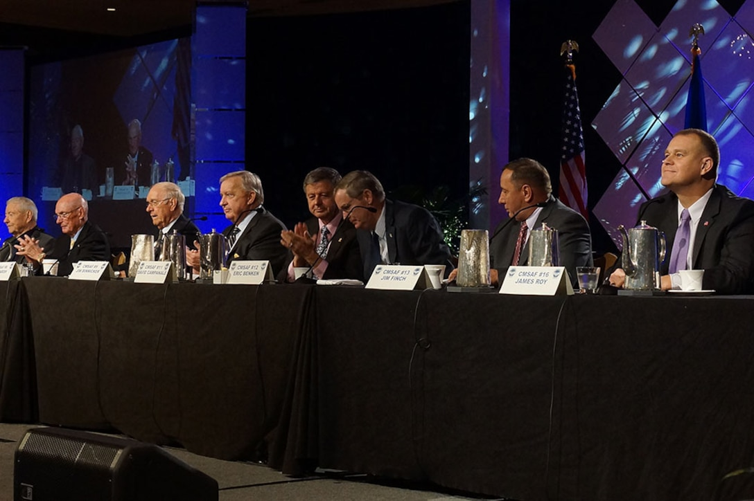 A panel of eight former chief master sergeants of the Air Force addresses an audience during the 2014 Air Force Sergeants Association Professional Airmen's conference Aug. 20, 2014, in Jacksonville, Fla. (Courtesy photo)