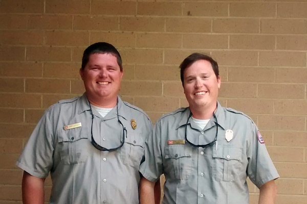 (NASHVILLE, Tenn., Aug 22, 2014) – Matthew Leftwich and Trey Church both park rangers from the U.S. Army Corps of Engineers Nashville District played a critical role in helping authorities find a missing camper at the Nashville Shores campground located at the J. Percy Priest lake Aug. 3, 2014.