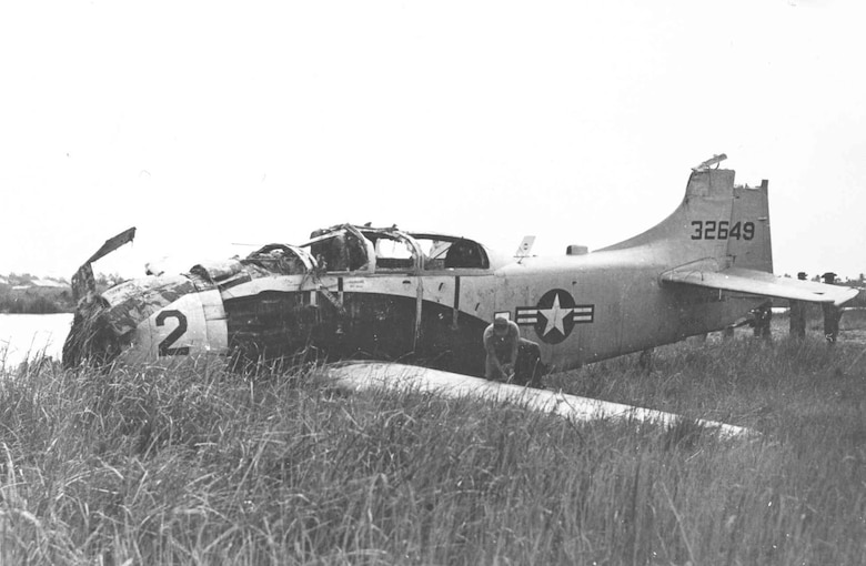 This Douglas A-1E was severely damaged in combat in South Vietnam. It is the aircraft that was flown by Maj. Bernard Fisher on March 10, 1966, when he rescued a fellow pilot shot down over South Vietnam, an act for which he was awarded the Medal of Honor. The A-1E flown by Fisher on his mission was restored and is on display at the National Museum of the U.S. Air Force, Dayton, Ohio. (U.S. Air Force Photo)(Released)
