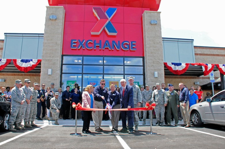 The Army Air Force Exchange Service Express is officially opened during a ribbon cutting at Homestead Air Reserve Base, Fla., Aug. 20. The AAFES Express is a 10,500 square foot facility that includes military clothing, four-pump gas station and convenience store. (Air Force photo/Senior Airman Nicolas Caceres)