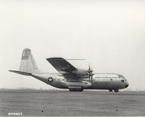 Archived photo of the YC-130 Hercules during its ferry flight from Burbank, Calif. to Edwards Air Force Base, Calif. August 23, 1954. The C-130 is still in production today, making it the longest running military aircraft production line in history. (U.S. Air Force photo)