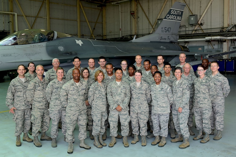 U.S. Air Force Chaplain Candidates visit the South Carolina Air National Guard F-16 hangar during a tour at McEntire Joint National Guard Base, S.C., July 30, 2014. The tour is part of training for the Candidates to be exposed to various ministry missions at active duty, guard and reserve Air Force bases.  (U.S. Air National Guard photo by Tech. Sgt. Caycee Watson/Released)