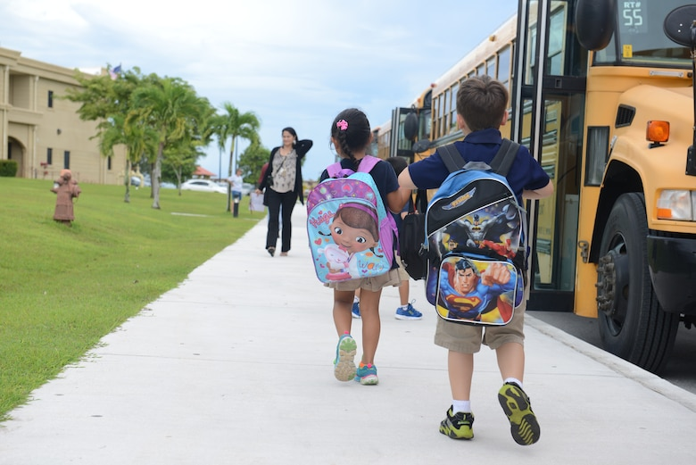 Children of Team Andersen depart Andersen Elementary School Aug. 25, 2014, on Andersen Air Force Base, Guam. Today was the students' first day back from summer break.  (U.S. Air Force photo by Airman 1st Class Adarius Petty/Released)