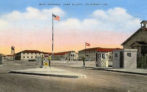 Postcard depicting main entrance to Camp Elliott, California.