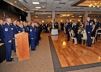 The Senior NCO Inductees shouted the Airmen's Creed to conclude the SNCO Induction Ceremony Aug. 14 at the Landing Zone at Cannon Air Force Base, N.M. They were celebrated by leadership, their peers and their families. (U.S. Air Force photo/Airman 1st Class Chip Slack)