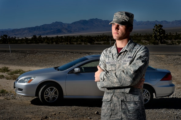 Airman 1st Class Tyler Webb talked about the day he helped save an elderly couple during a flash flood outside of Las Vegas. Webb, who lost his own vehicle during the flood, was recognized for his heroic acts and received donations from the local and national community to finance a replacement vehicle. Webb is an MQ-9 Reaper avionics specialist with the 432nd Maintenance Group. (U.S. Air Force photo/Tech. Sgt. Nadine Barclay)