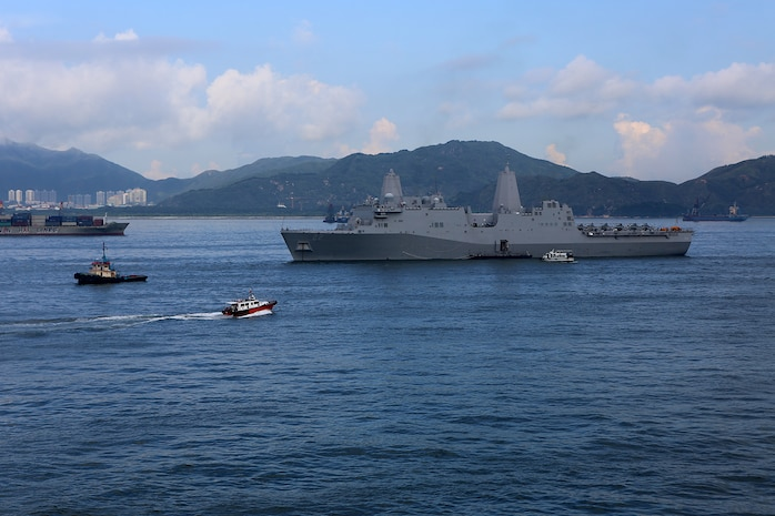 The USS San Diego, embarked with Marines and sailors from the11th Marine Expeditionary Unit, remains anchored off the coast of Hong Kong, Aug. 23. The 11th MEU and Makin Island Amphibious Ready Group are deployed to the U.S. 7th Fleet area of operations as a sea-based, expeditionary crisis response force capable of conducting amphibious missions across the full range of military operations. (U.S. Marine Corps photo by Sgt. Melissa Wenger/Released)