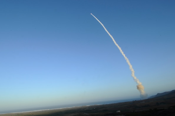 An unarmed LGM-30G Minuteman III intercontinental ballistic missile launches during an operational test at Launch Facility-4 on Vandenberg Air Force Base Calif. The Minuteman III ICBM is an element of the nation's strategic deterrent forces under the control of the Air Force Global Strike Command. (U.S. Air Force photo/Senior Airman Lael Huss)