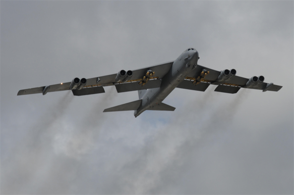 The B-52 is a long-range, heavy bomber that can perform a variety of missions. The bomber is capable of flying at high subsonic speeds at altitudes up to 50,000 feet. It can carry nuclear or precision guided conventional ordnance with worldwide precision navigation capability. (Courtesy photo)