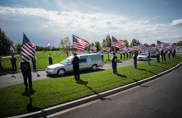 Past veterans honor the late Col. Bernard Fisher, a Medal of Honor recipient, Aug. 25, 2014, at Idaho State Veterans Cemetery, Boise, Idaho. Fisher, who was born January 11, 1927, in San Bernadino, Calif., grew up in Clearfield, Utah, and first called Kuna, Idaho, home after his discharge from the Navy V-6 program in 1946. (U.S. Air Force photo/Tech. Sgt. Samuel Morse)