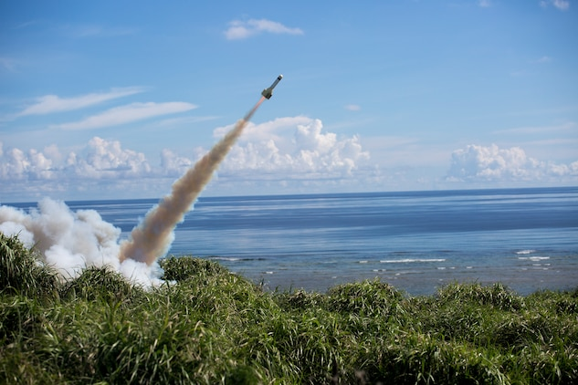 """A GTR-18 missile, better known as a """"Smokey SAM,"""" launches during a threat reaction evolution on an island outside of Okinawa, Japan, Aug. 26, 2014. The threat reaction evolution is a chance for pilots to stay up to date on their qualifications while keeping an alert and aware mindset for any arising combat scenario."""