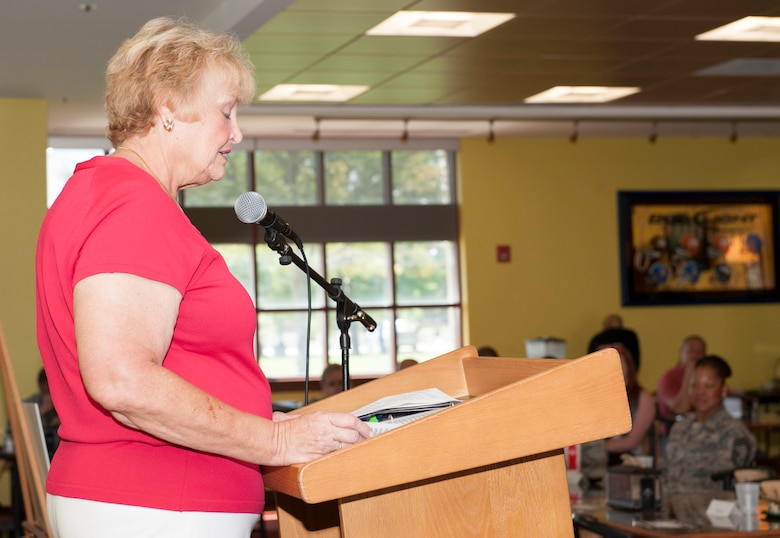 Paula Sarlls, Colorado Columbine-Women Marines History Chapter, speaks during the Women's Equality Day presentation Aug. 26, 2014, on Buckley Air Force Base, Colo. Women's Equality Day commemorates the ratification of the 19th Amendment, granting women the right to vote. Today, it is celebrated in honor of modern day women's rights to be seen as equals to men. (U.S. Air Force photo by Airman 1st Class Samantha Saulsbury/Released)