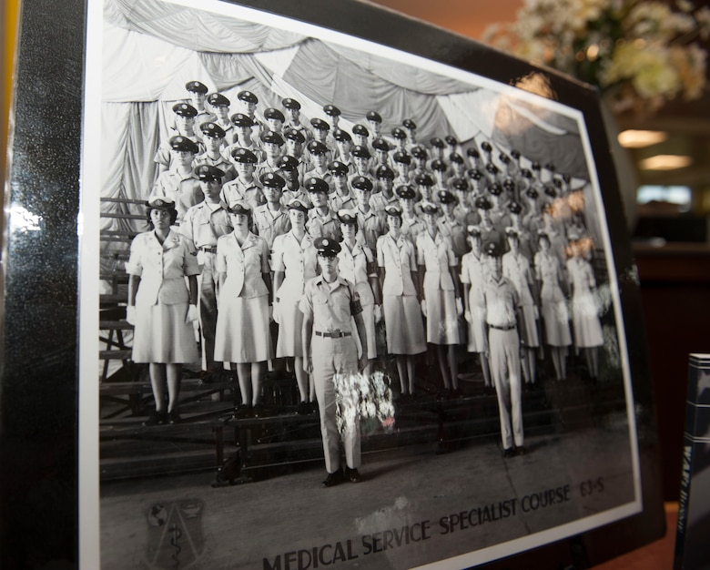 A picture the U.S. Air Force Medical Service Specialist Course graduate class of 1963 is displayed during a Women's Equality Day presentation Aug. 26, 2014, on Buckley Air Force Base Colo. Women's Equality Day commemorates the ratification of the 19th Amendment, granting women the right to vote. Today, it is celebrated in honor of modern day women's rights to be seen as equals to men. (U.S. Air Force photo by Airman 1st Class Samantha Saulsbury/Released)