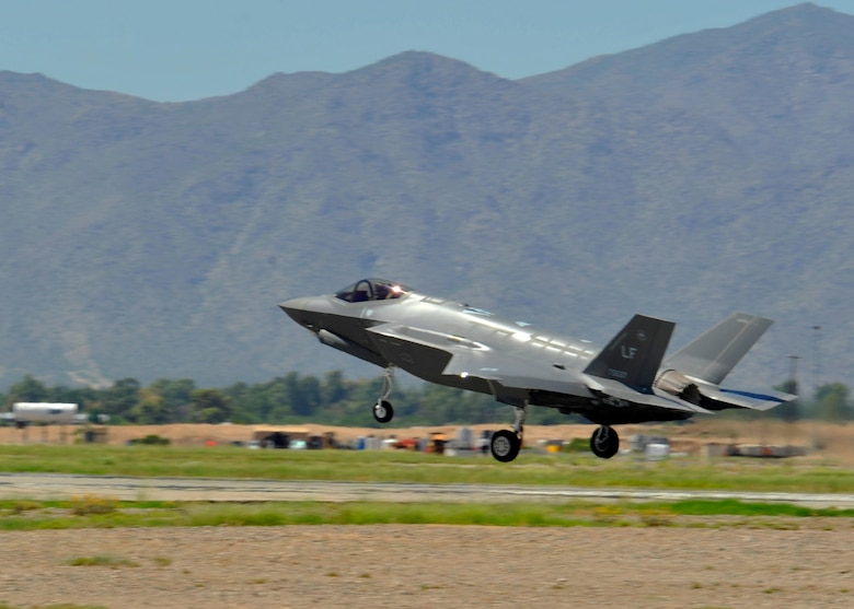 An F-35 lands Aug. 26, 2014 at Luke Air Force Base. The fighter jet had completed its historic 100th sortie at Luke. (U.S. Air Force photo by Senior Airman Marcy Copeland)