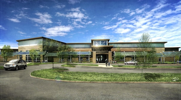 A rendering shows what the completed Barkley Elementary School at Fort Campbell will look like when completed in 2015.