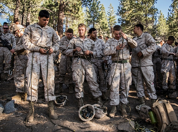 U.S. Marines with 3rd Battalion, 1st Marine Regiment rig their seat harnesses while training to build and cross rope bridges during Mountain Exercise 2014 aboard Marine Corps Mountain Warfare Training Center in Bridgeport, Calif., Aug. 27, 2014. Marines with 3rd Battalion, 1st Marine Regiment will become the 15th Marine Expeditionary Unit's ground combat element in October. Mountain Exercise 2014 develops critical skills the battalion will need during deployment.