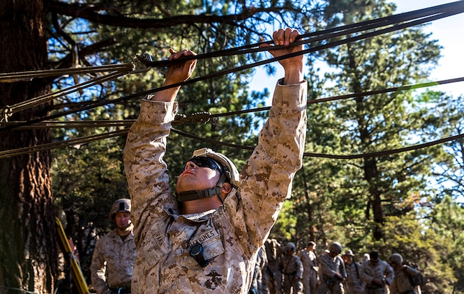 U.S. Marine Sgt. Jose Uranga tests the tension of the ropes while training to build and cross rope bridges during Mountain Exercise 2014 aboard Marine Corps Mountain Warfare Training Center in Bridgeport, Calif., Aug. 27, 2014. Uranga is a platoon sergeant with 2nd Platoon, India Company, 3rd Battalion, 1st Marine Regiment. Marines with 3rd Battalion, 1st Marine Regiment will become the 15th Marine Expeditionary Unit's ground combat element in October. Mountain Exercise 2014 develops critical skills the battalion will need during deployment.