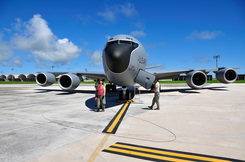 Members of the 134th Air Refueling Wing from McGhee Tyson ANG Base, TN maintain a KC-135R Stratotanker during a training mission at Andersen AFB, Guam.  (U.S. Air National Guard photo by Staff Sgt. Ben Mellon, 134 ARW Public Affairs)