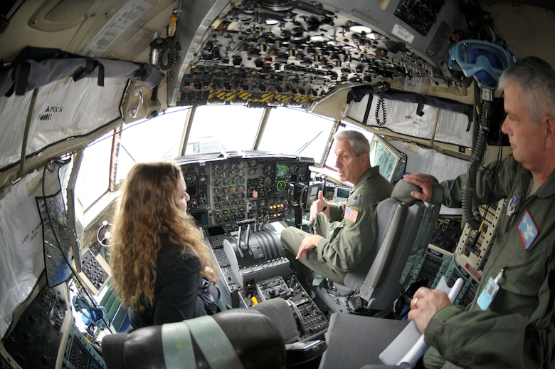 Col. Shawn Clouthier (right), 109th Airlift Wing commander, and Lt. Col. Alan Ross, 109th AW chief of staff, give Moran Banai, military legislative assistant to Sen. Kirsten Gillibrand, an inside look of an LC-130. Banai came to Stratton Air National Guard Base, Scotia, N.Y., on Aug. 27, 2014, to learn more about the 109th's unique mission and tour an LC-130 aircraft. (U.S. Air National Guard photo by Master Sgt. William Gizara/Released)