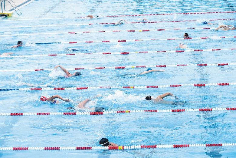 Competitors swim their way through a 400-yard zigzag course in the Quantico 50M Pool as part of the Quantico Tri on Marine Corps Base Quantico on Sunday. The youngest competitor was 10 years old; the oldest was 75 years young.