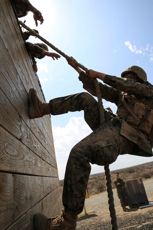 A recruit of Mike Company, 3rd Recruit Training Battalion, climbs a wall during Gonzalez's Challenge at Marine Corps Base Camp Pendleton, Calif., Aug. 20. Gonzalez's Challenge is a two-part exercise that requires climbing a wall and swinging from platforms.