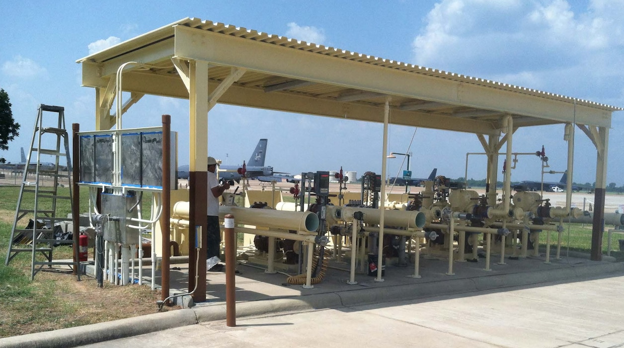 A recently renovated service control point at  Barksdale Air Force Base, Louisiana, ensures fuel is delivered to the Air Force  2nd Bomb Wing's stable of  B-52 Stratofortresses (seen in background), a long-range heavy bomber serving as a vital component to the Air Force Global Strike Command.  Huntsville Center's Installation and Support and Programs Management DLA-Fuels program manages a maintenance and repair service program sustaining worldwide fueling capability to the Department of Defense and other agencies.