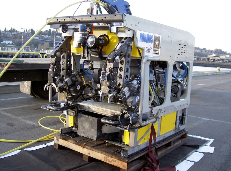 A Remotely Operated Underwater Munitions Recovery System, a high-tech piece of machinery used at the Former Lowry Bombing and Gunnery Range near Denver, Colo., in 2011 to pick up munitions.