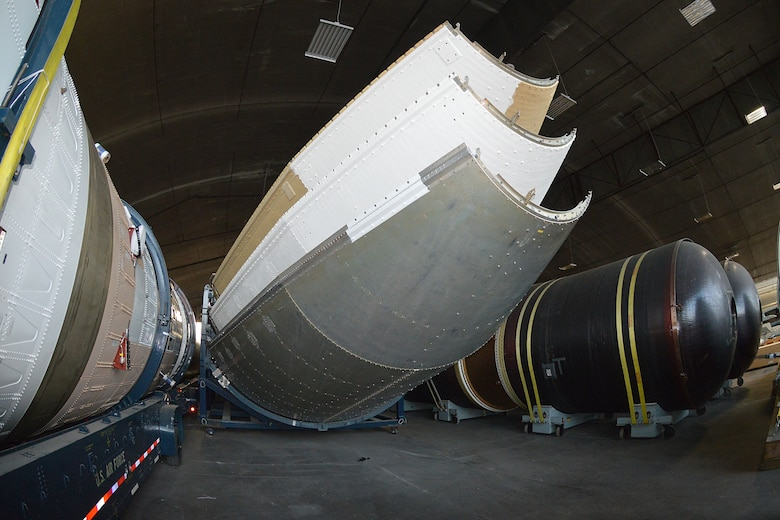 DAYTON, Ohio (08/2014) -- The Titan IVB space launch vehicle in the restoration hangar at the National Museum of the United States Air Force. These are sections of the payload fairings. (U.S. Air Force photo)