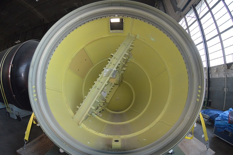 DAYTON, Ohio (08/2014) -- The Titan IVB space launch vehicle in the restoration hangar at the National Museum of the United States Air Force. This is a solid rocket motor nose cone. (U.S. Air Force photo)